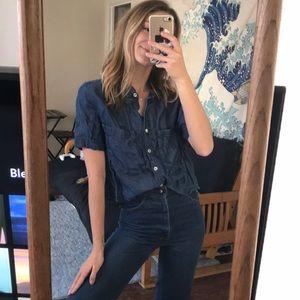 Tops - Cropped denim lookalike shirt